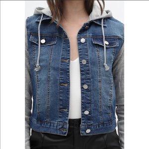 NWT Layered Denim jacket w/ fleece hoodie
